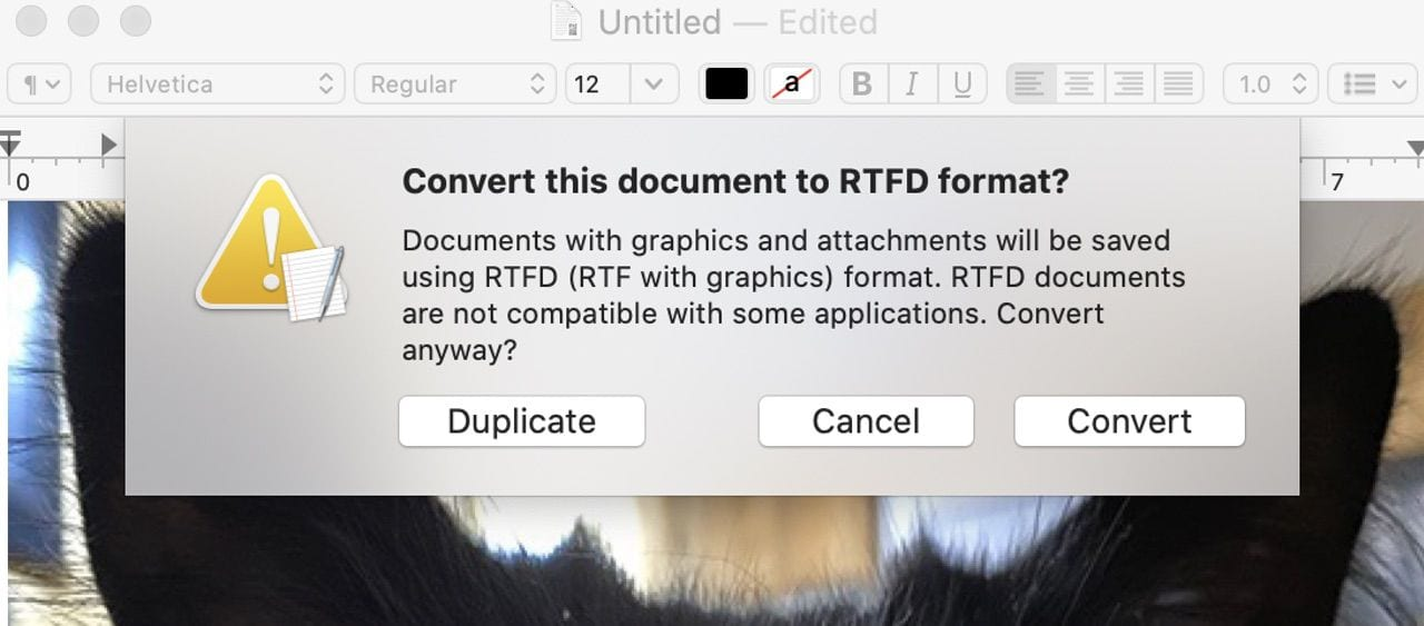 The first time a media item is added to the document, you'll be asked to convert the document to an RTFD format.
