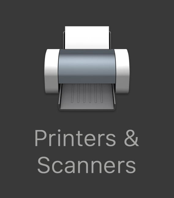 Printers and scanners with mac printer icon
