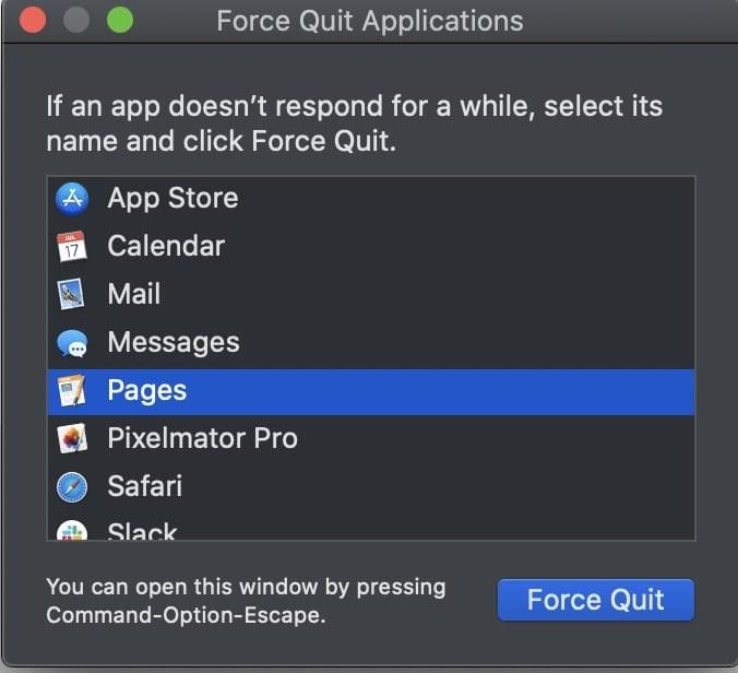 Force Quit Application dialog