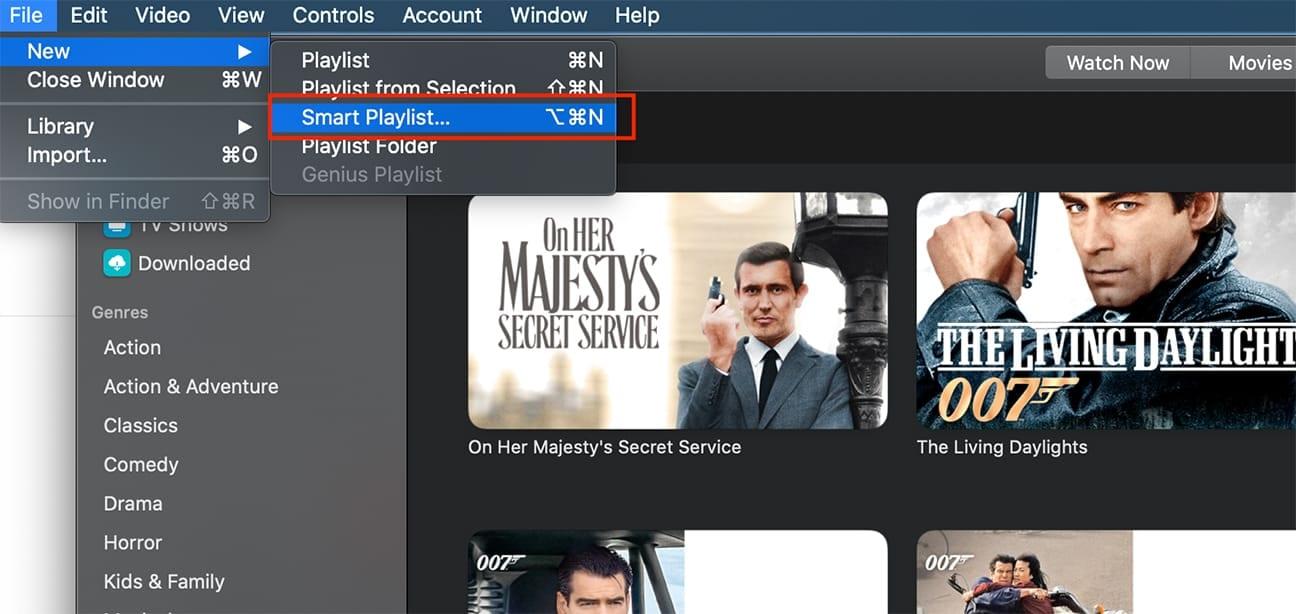 chosing smart playlist from file menu in apple tv app on mac