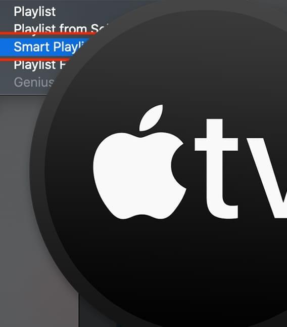 apple tv icon over smart playlist