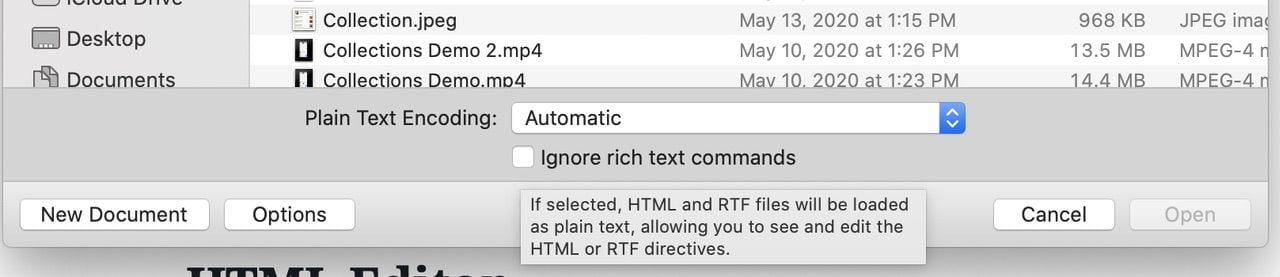 To open an HTML file for editing, be sure to click Options, then check the Ignore rich text commands check box.