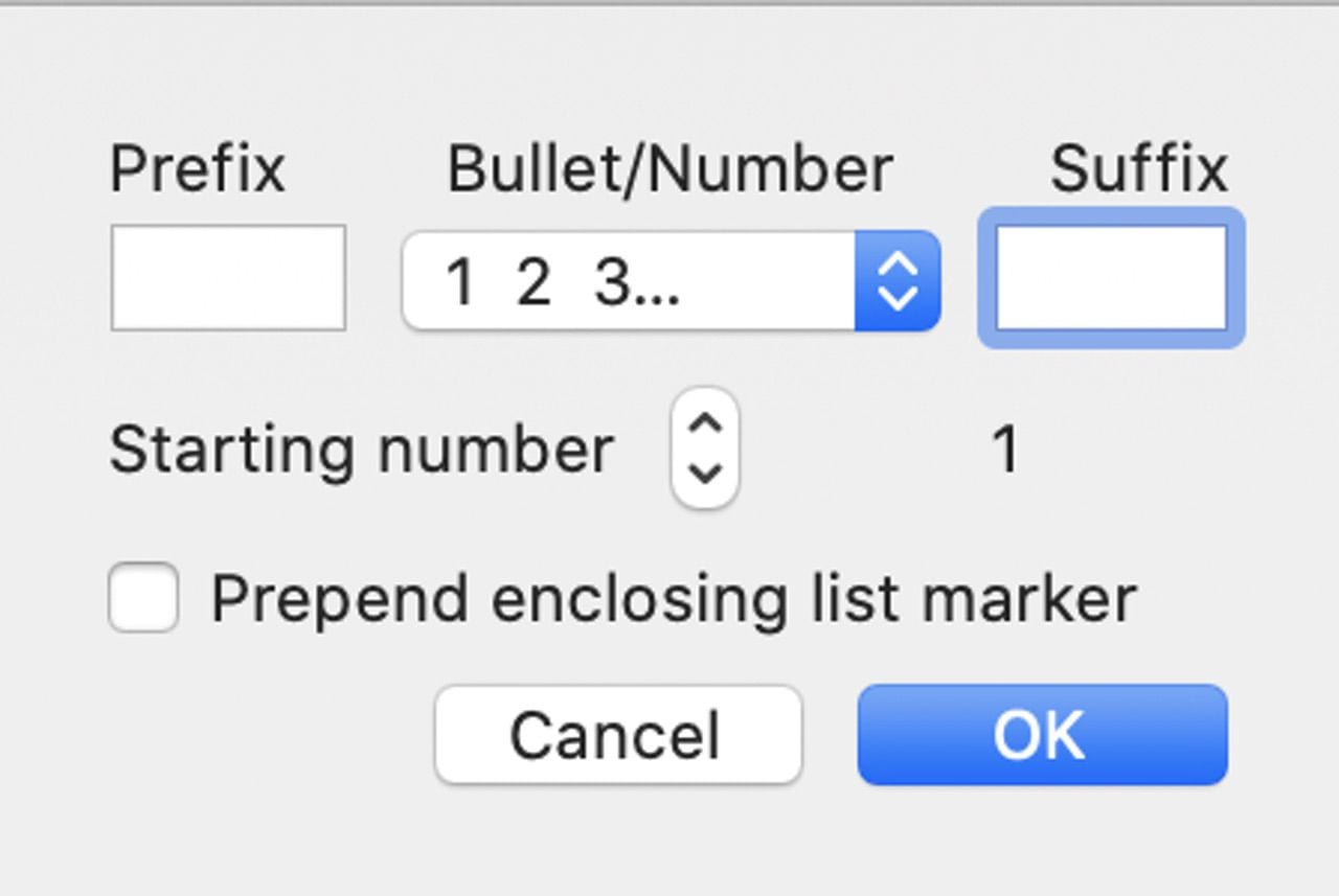 The List Bullets and Numbering dialog