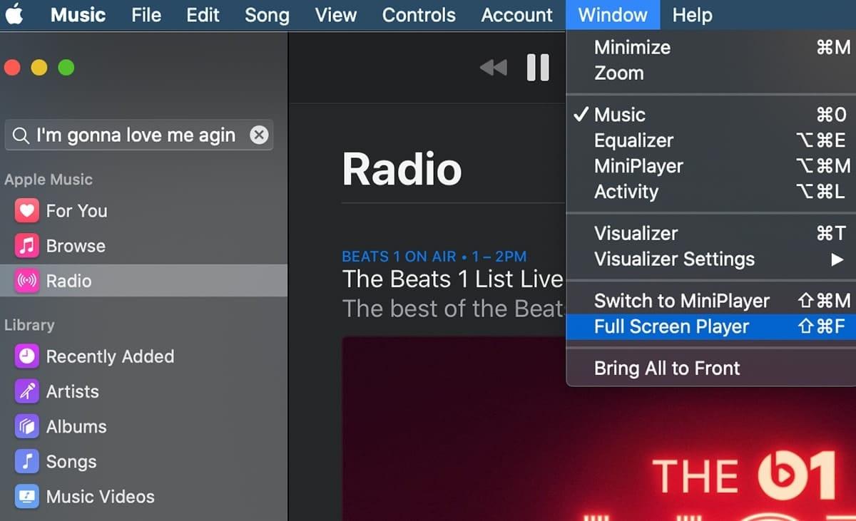 Apple music app showing window menu dropdown