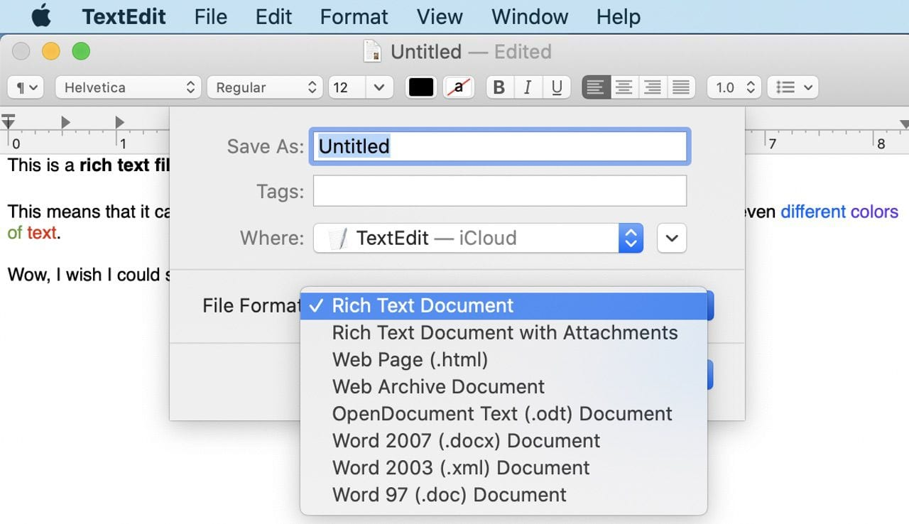 TextEdit documents can be saved in a number of different formats, one of which is the popular .docx Word format.