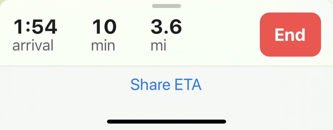 Once turn-by-turn directions are enabled, the Share ETA link appears.