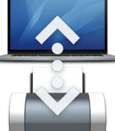 space gray macbook pro and printer icon with a dotted arrow between