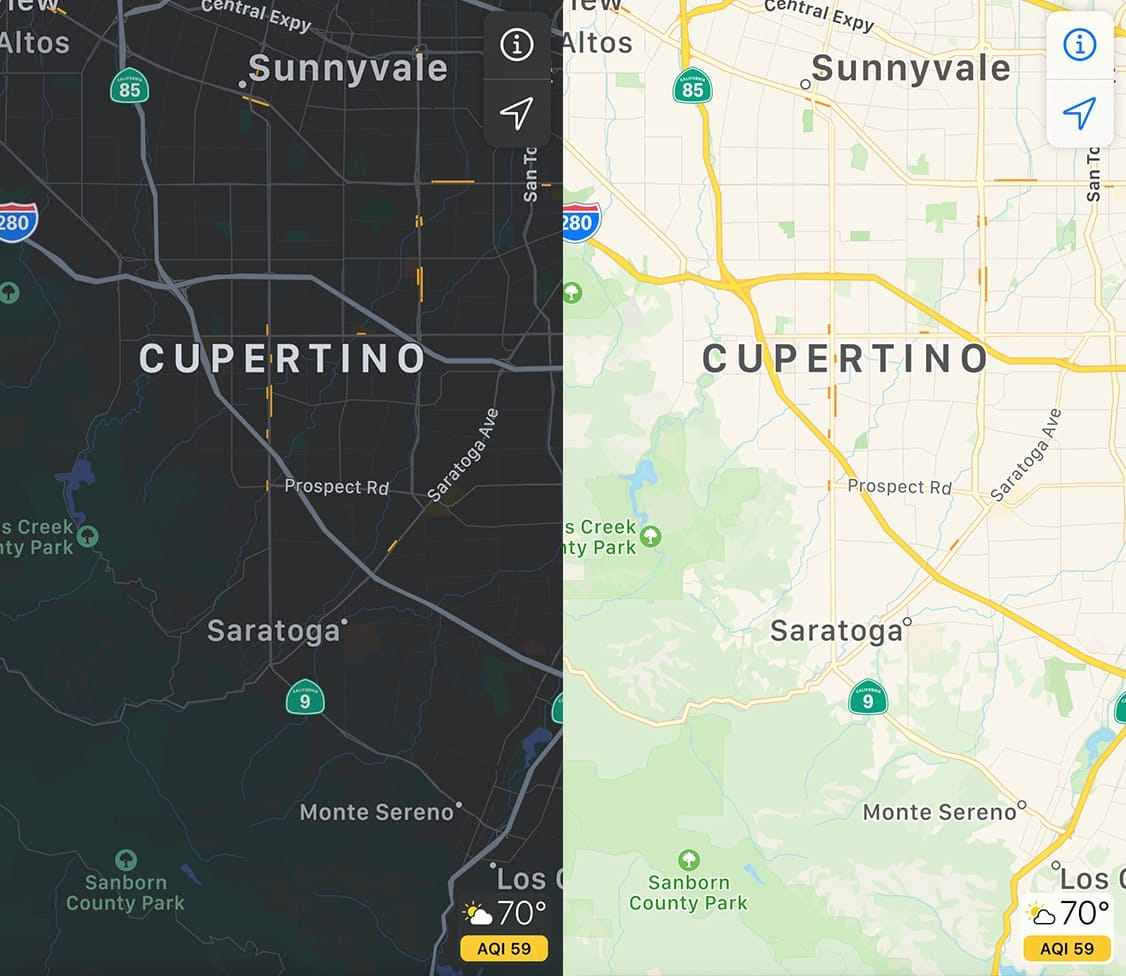 iOS Maps Showing Dark Mode Vs. Light Mode