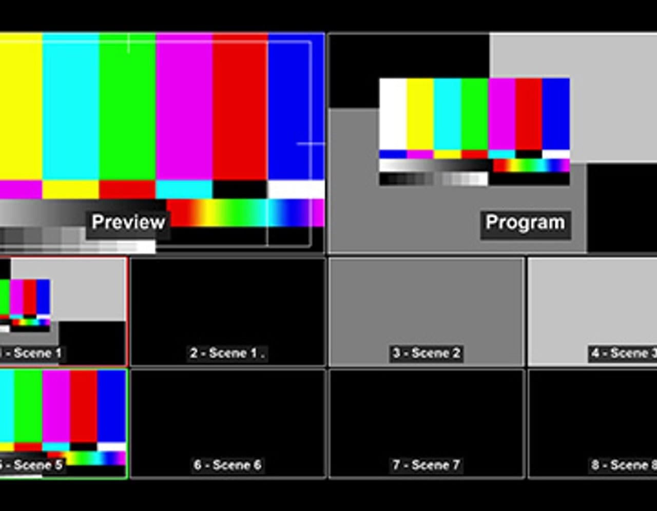 A screen capture of Multiview in OBS, which allows the monitoring of up to eight separate scenes that can be cued and transitioned to
