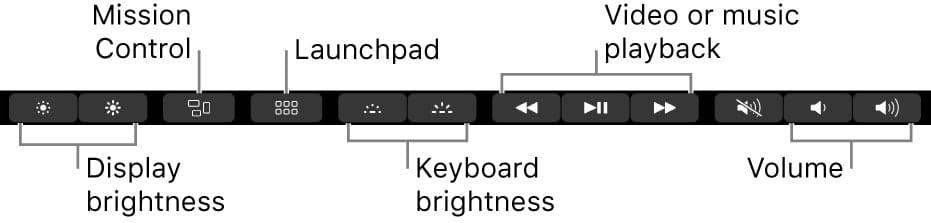Sample Control Strip on a Mac Touch Bar