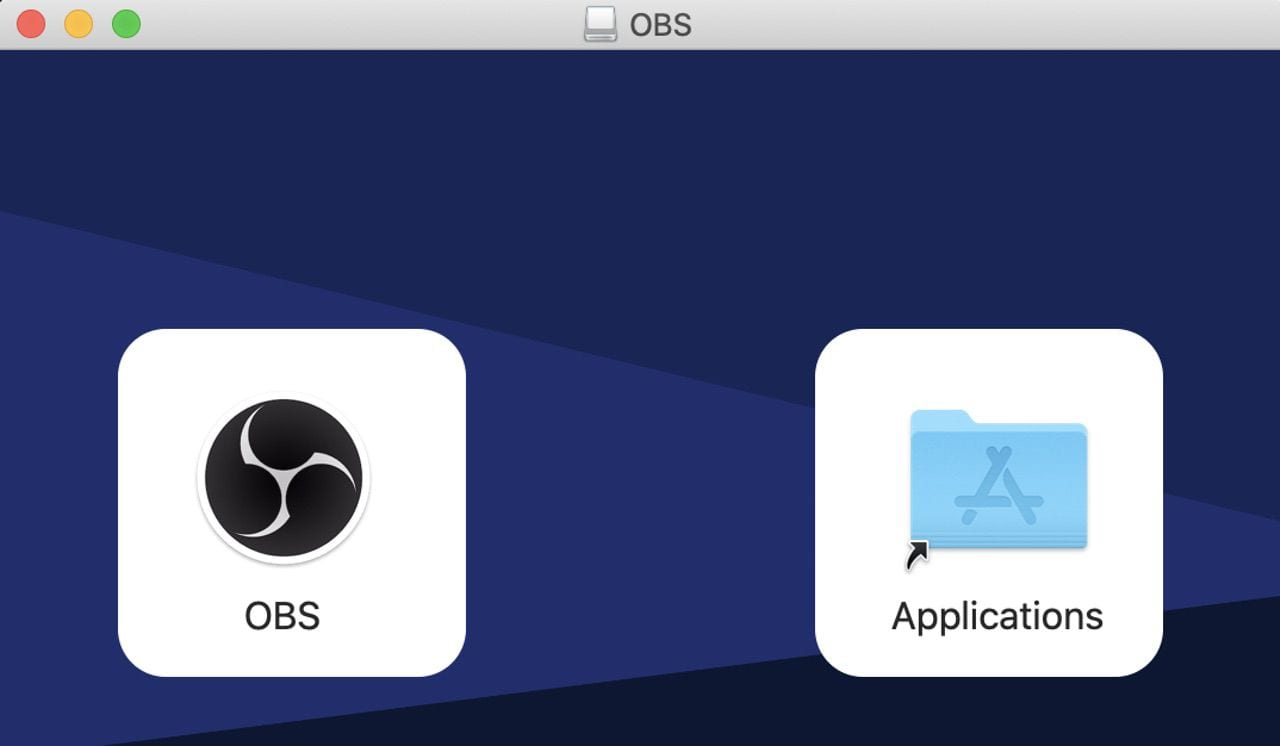 To install OBS on your Mac, just drag the OBS icon at left to the Applications folder icon on the right