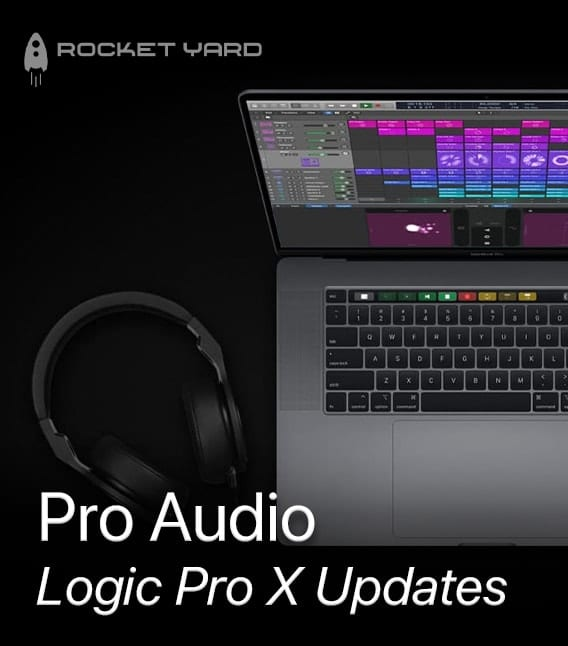 Mac with logic pro x and headphones