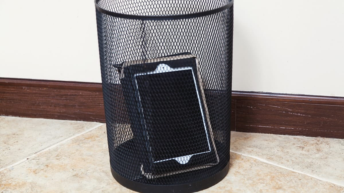 iPad in a wastebasket