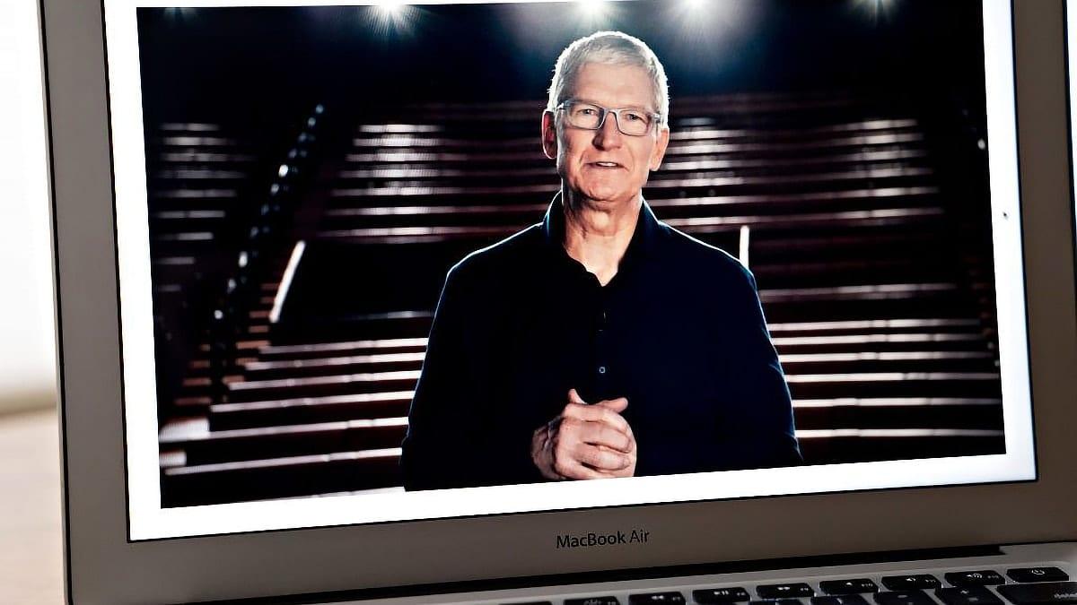 Tim Cook virtual wwdc on macbook air