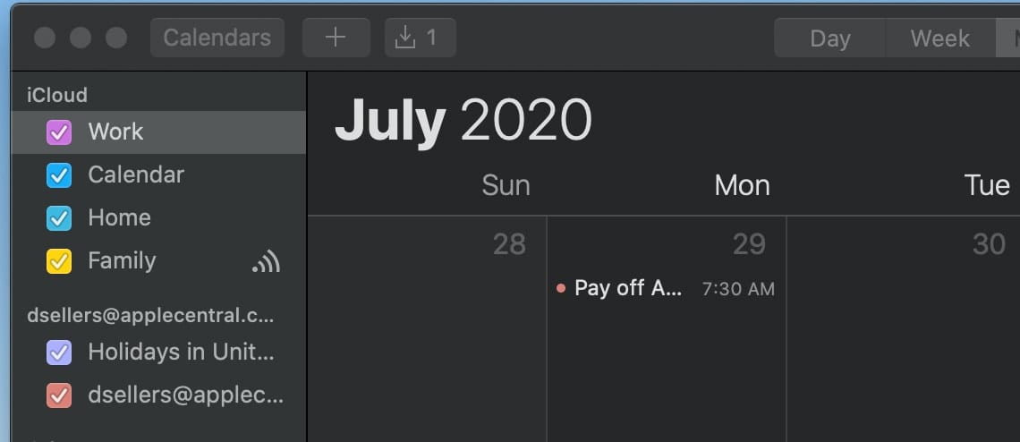 screenshot of macOS calendar app