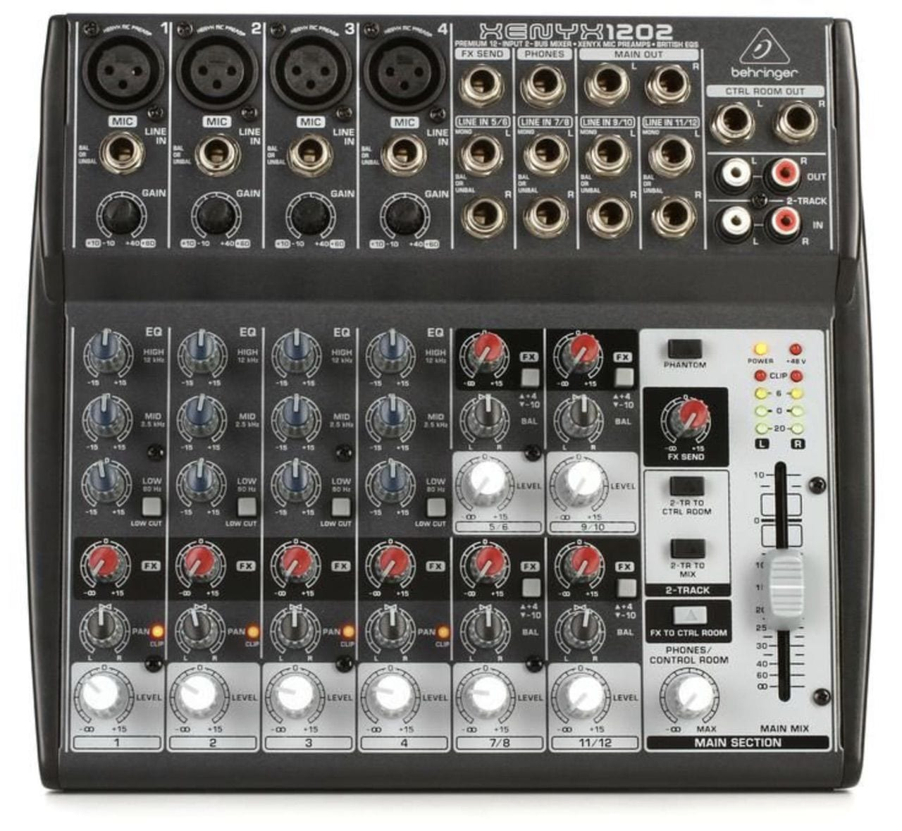 An inexpensive audio mixer for use in live-streaming, the Behringer Q1202USB
