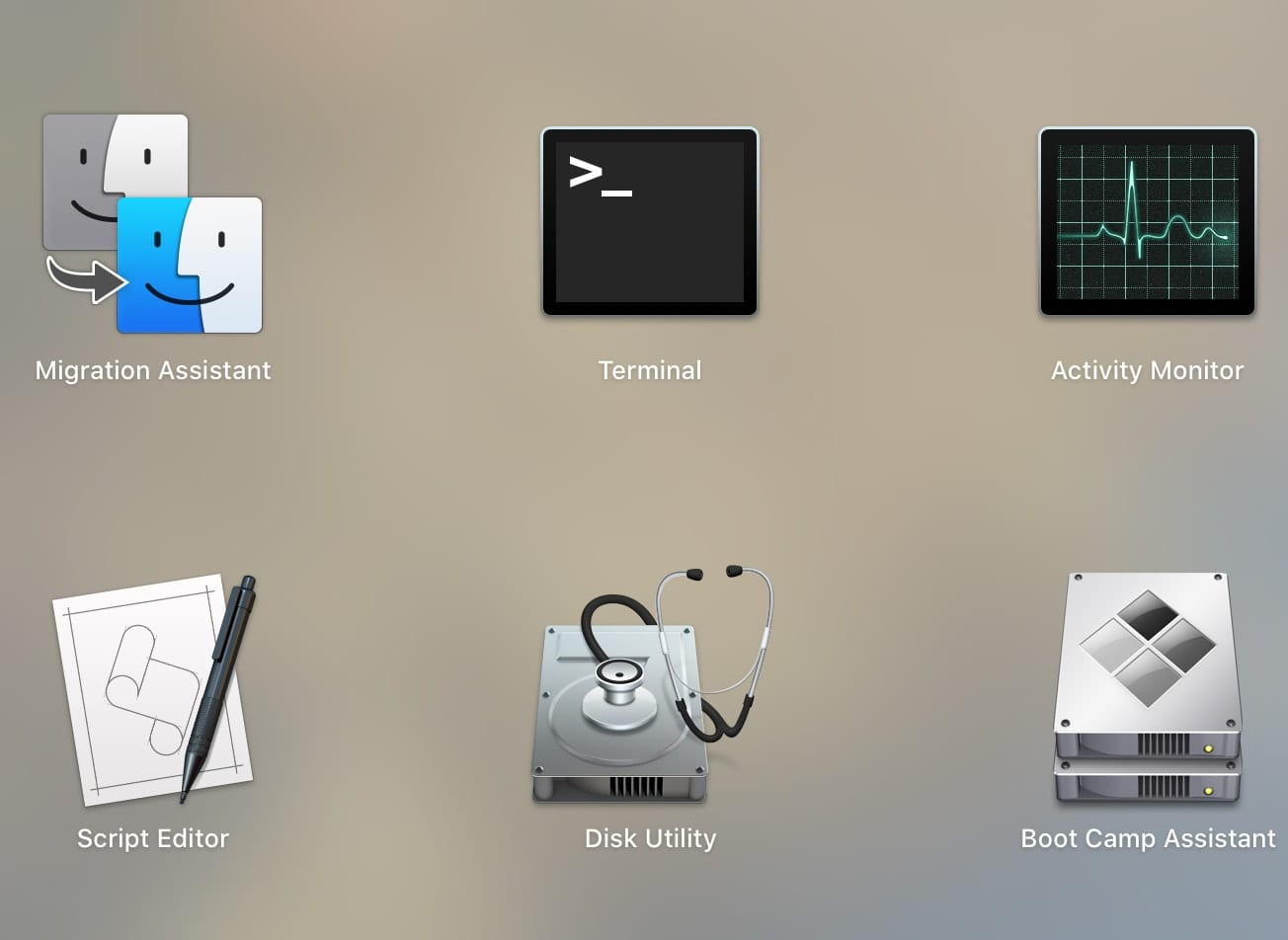 """screen shot of """"other"""" folder in macos launcher"""