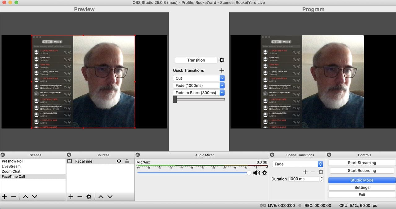 Using FaceTime as a source window for OBS