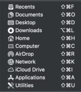 screenshot of macos go menu