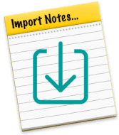 macOS Notes app icon with square import arrow