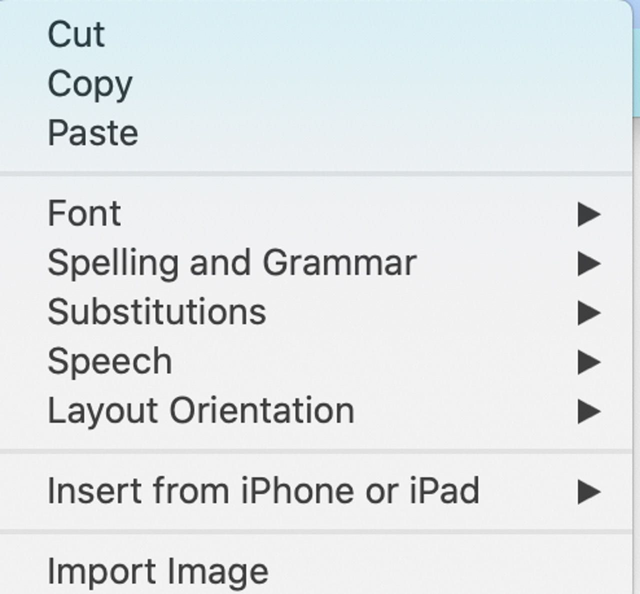 Right-click an empty space in a sticky to see this menu