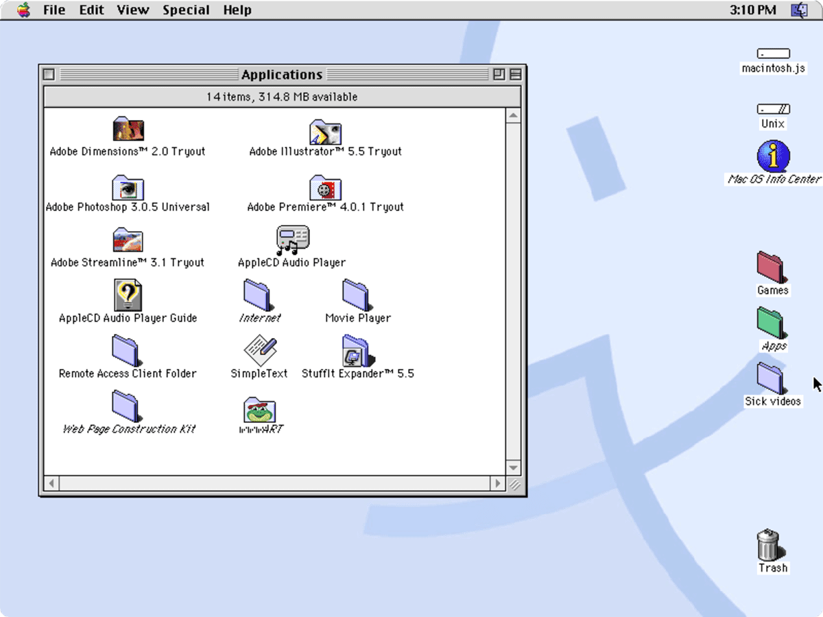 The Macintosh.js desktop