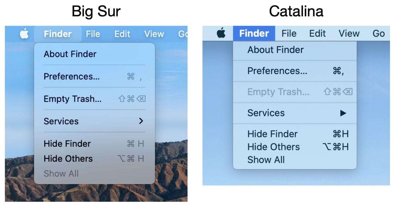 The Mac menubar now has more spacing between items