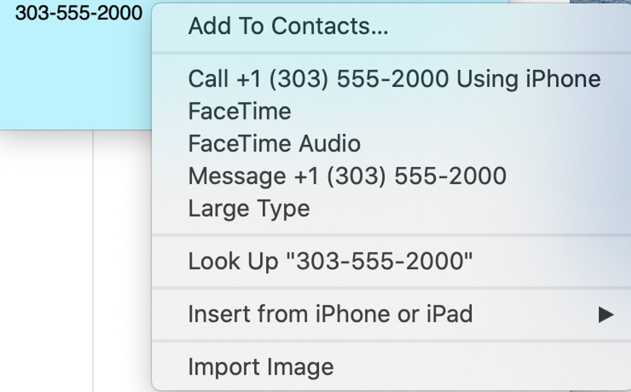 Right-click a phone number in Stickies for these actions to appear