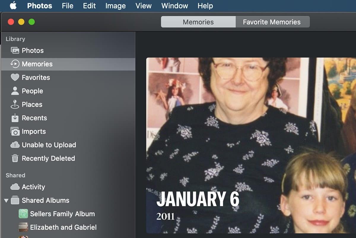 macOS Photos App window showing memories tab selected