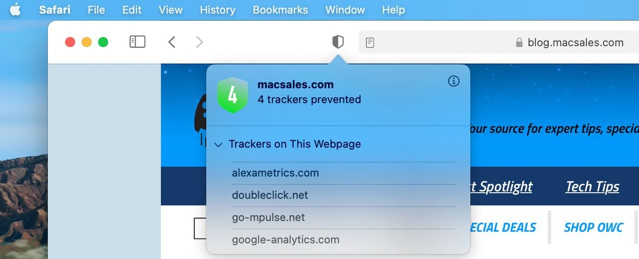 The new Safari privacy report and opaque dialog window