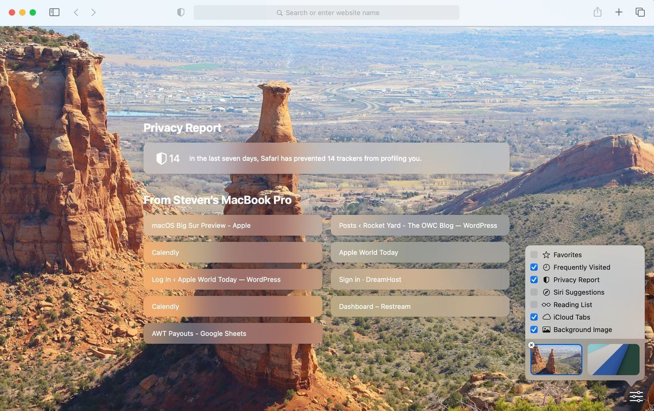 The new Safari Start Page showing a background image and settings