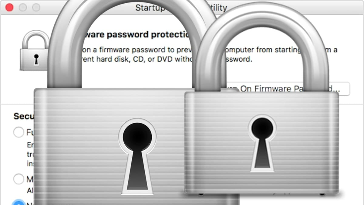 Startup Security Utility window with silver lock icon