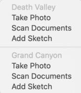 Actions available when inserting into a sticky note from iPhone or iPad