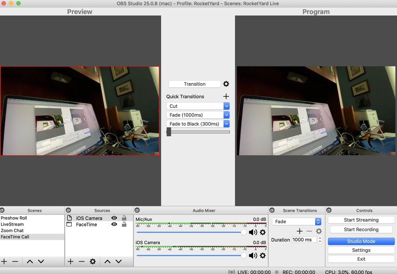 Using an iPhone as a camera through the Camera for OBS Studio app and a USB connection.