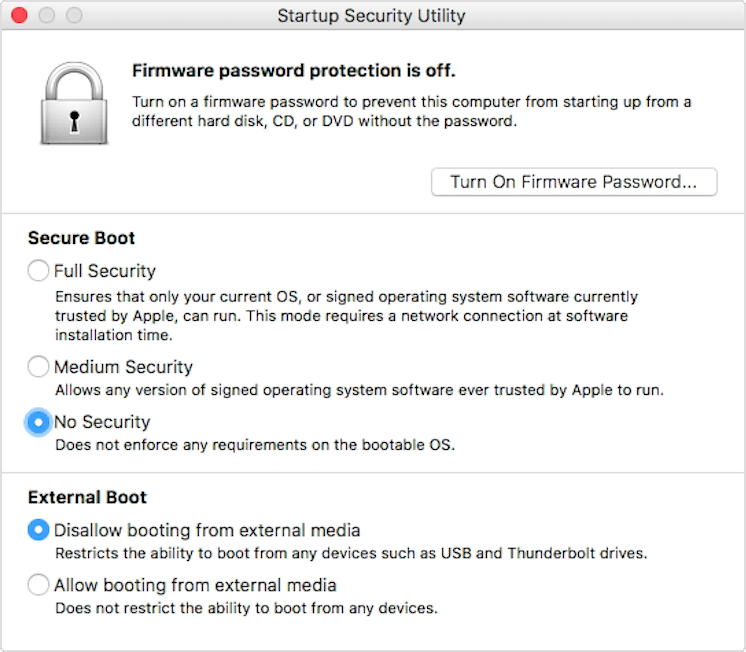 """Screenshot of macOS startup security utility window with """"no security"""" selected"""