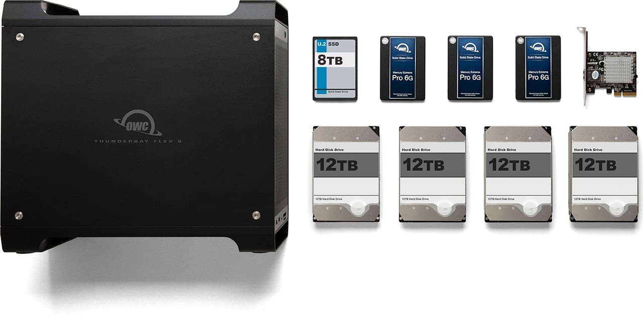 Image of an OWC ThunderBay Flex 8 with several different hard drive and ssd options