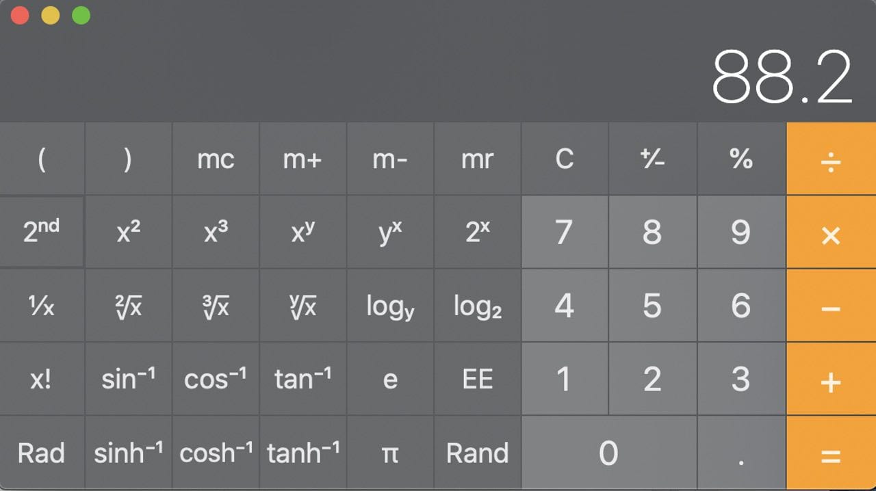 Clicking the 2nd button changes the function of some of the scientific calculator buttons.