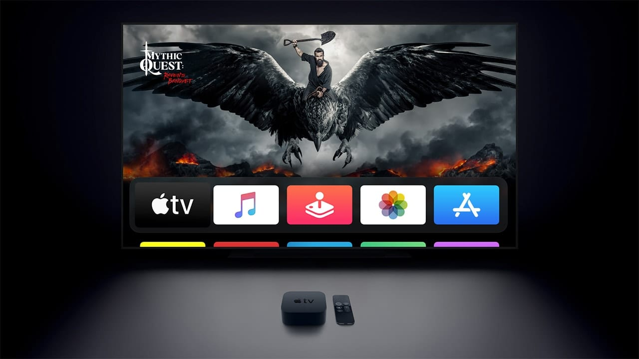applw tv with remote showing apps on screen