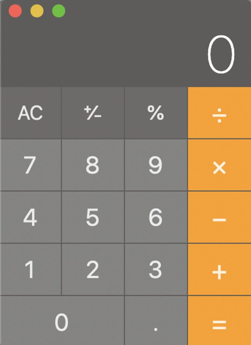 The macOS Calculator in Basic Mode