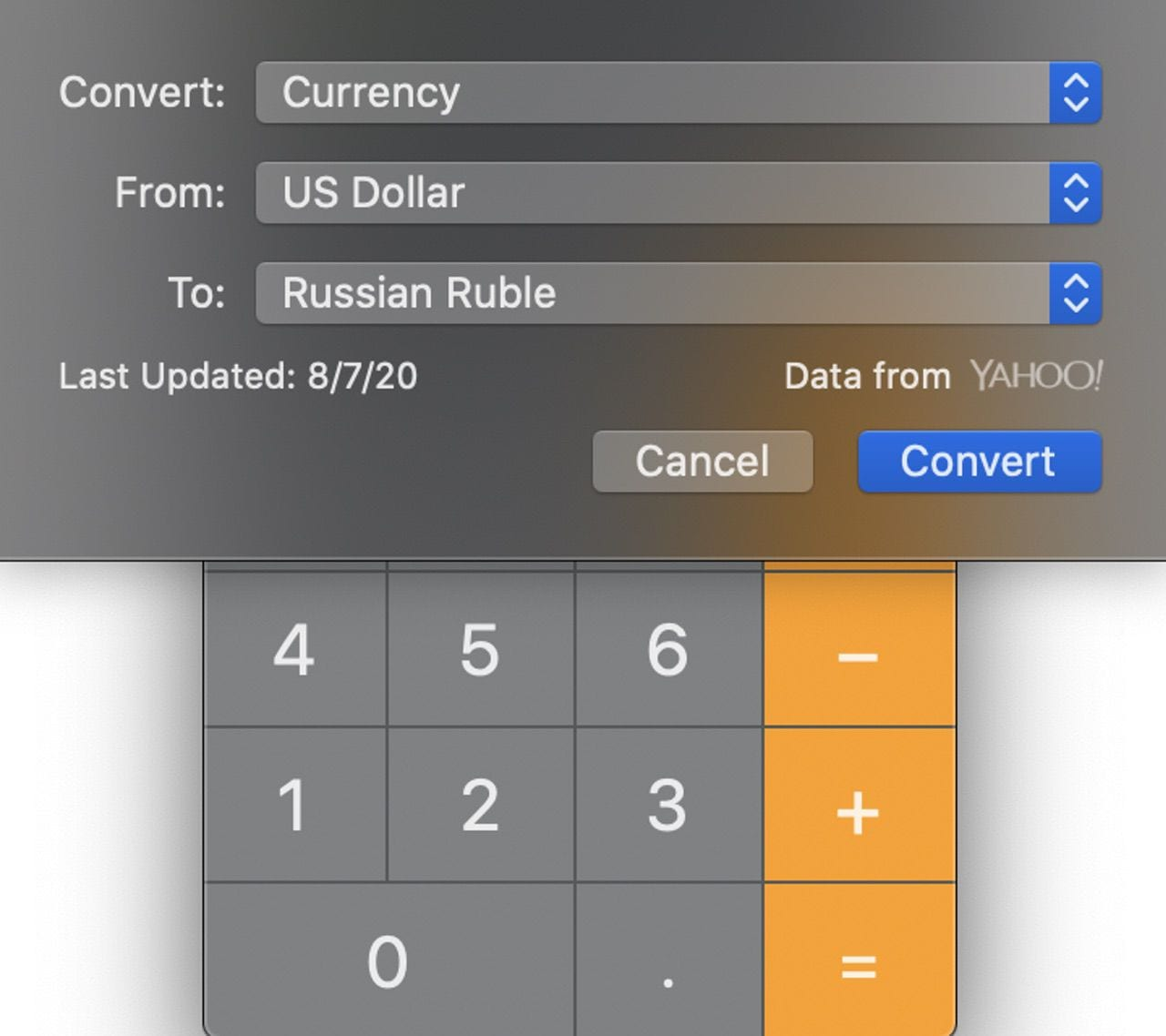 All conversion calculations use a similar interface