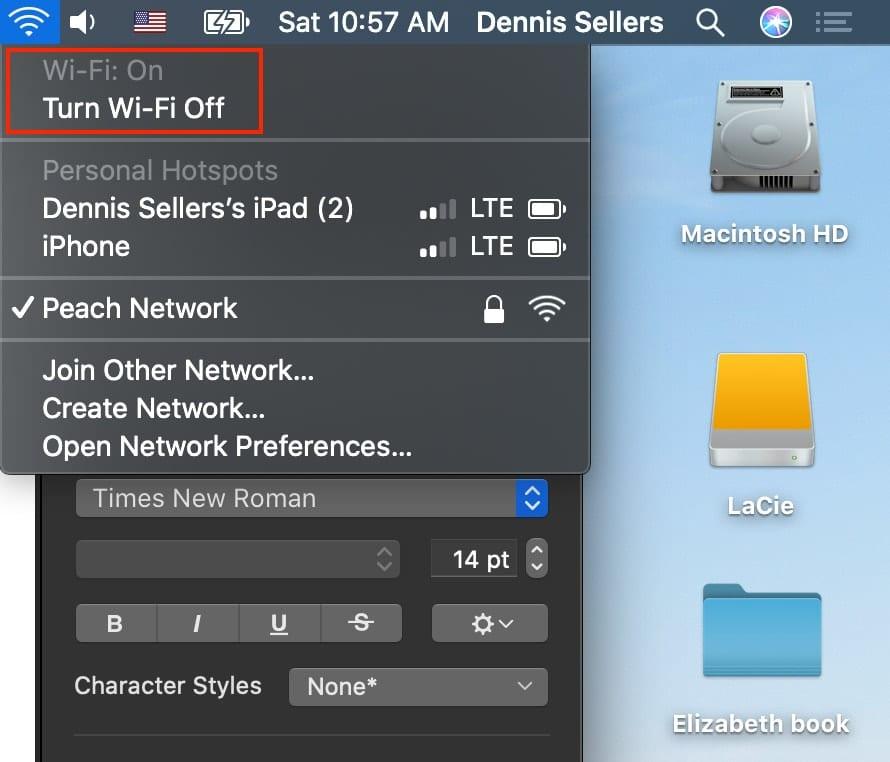Wi-Fi dropdown menu