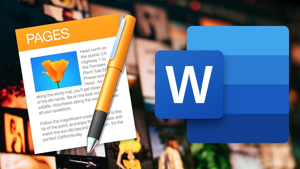 microsoft word and macos pages logos on photo collage