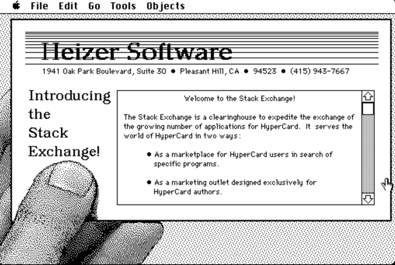 The Heizer Software Stack Exchange provided a catalog of HyperCard stacks, as well as a market for would-be programmers.