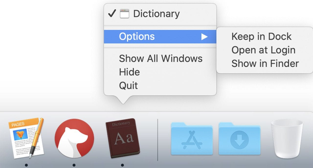 """Click and hold on the dictionary icon, then select Options> Keep dock to place the dictionary app permanently in macOS Dock """"class ="""" wp-image-65021 """"width ="""" 640 """"height ="""" 344 """"srcset ="""" https: //blog.macsales.com/wp-content/uploads/2020/08/KeepDicInDock.jpg 1280w, https://blog.macsales.com/wp-content/uploads/2020/08/KeepDicInDock-224×120.jpg 224w, https://blog.macsales.com/wp-content/uploads/2020/08/KeepDicInDock-284×152.jpg 284w, https://blog.macsales.com/wp-content/uploads/2020/08/KeepDicInDock-190×102 .jpg 190w, https://blog.macsales.com/wp-content/uploads/2020/08/KeepDicInDock-224×120@2x.jpg 448w, https://blog.macsales.com/wp-content/uploads/2020 /08/KeepDicInDock-284×152@2x.jpg 568w, https://blog.macsales.com/wp-content/uploads/2020/08/KeepDicInDock-190×102@2x.jpg 380w """"sizes ="""" (max width: 640px) 100vw, 640px """"/><figcaption>Click and hold the dictionary icon, then select Options> Keep in dock to place the dictionary app permanently in macOS Dock.</figcaption></figure> </div> <p>Another way to start the app is to use <strong>Spotlight</strong> keyboard shortcut – Command (⌘) – Space – and then type the first few letters of the word """"dictionary"""".  The top hit becomes """"dictionary"""", and by pressing the return key on the keyboard, the app is launched.</p> <p>Dictionary is also available in <strong>Launchpad</strong>, then click the little Rocket icon on the Dock, type a D to restrict the launch screen to only those apps that start with the letter D, and then click Dictionary to launch it.</p> <p>If you have Ask Siri set up on a Mac, you can even ask Siri to start Dictionary – """"Hi Siri, start Dictionary.""""</p> <h2>So many dictionaries, so little time</h2> <p>Here the dictionary window is open and waiting to be used.  Note that in this case there are several different dictionaries that I can search in – one is actually an encyclopedia, in this case Wikipedia.  There is also an Apple Dictionary, which is a list of words and definitions for things related to Apple – """