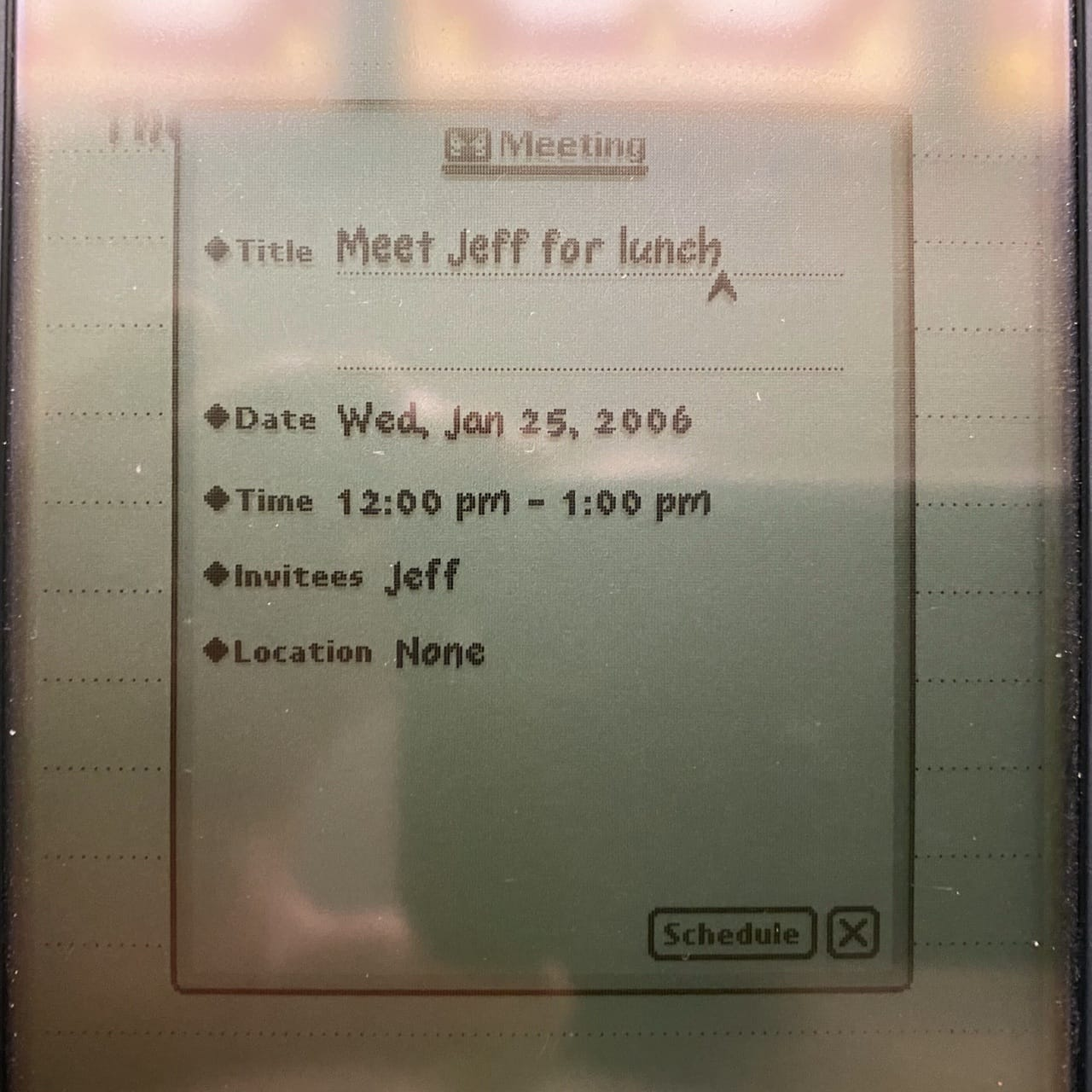...becomes a meeting in the Newton Calendar app. A foretaste of Siri from 1997. Note that this Newton still retained this meeting request from 2006 in 2020!