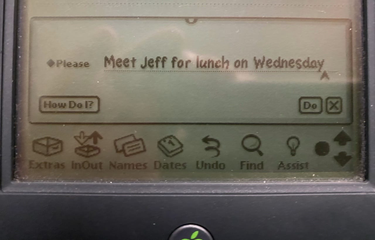 "Handwritten request to ""meet Jeff for lunch on Wednesday""..."