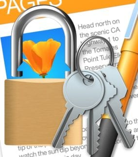 lock and key with pages icon