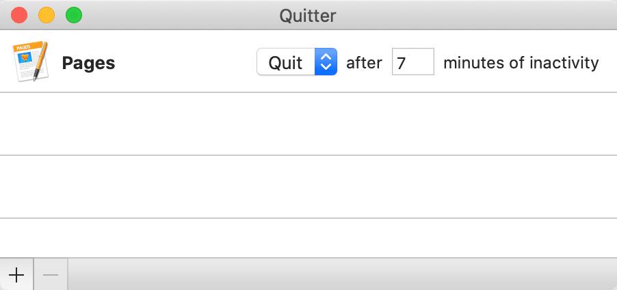 "The Quitter app ""Edit Rules"" menu"