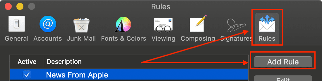 Click to add a new rule in Mail Preferences