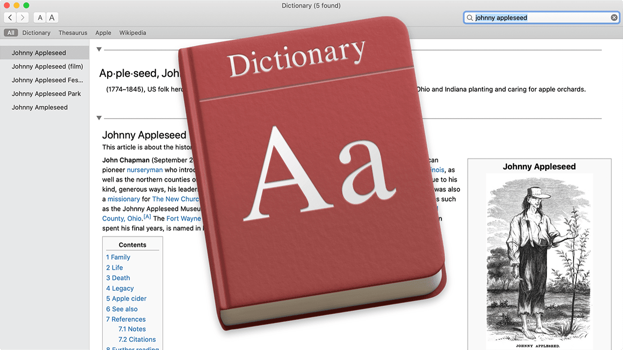 Mac dictionary entry for johnny appleseed with dictionary app logo